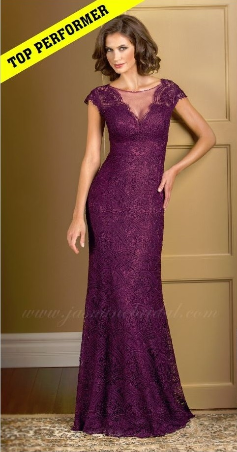 mother of the bride, deep purple lace, A-line, sleeves, V-neckline, belt, front