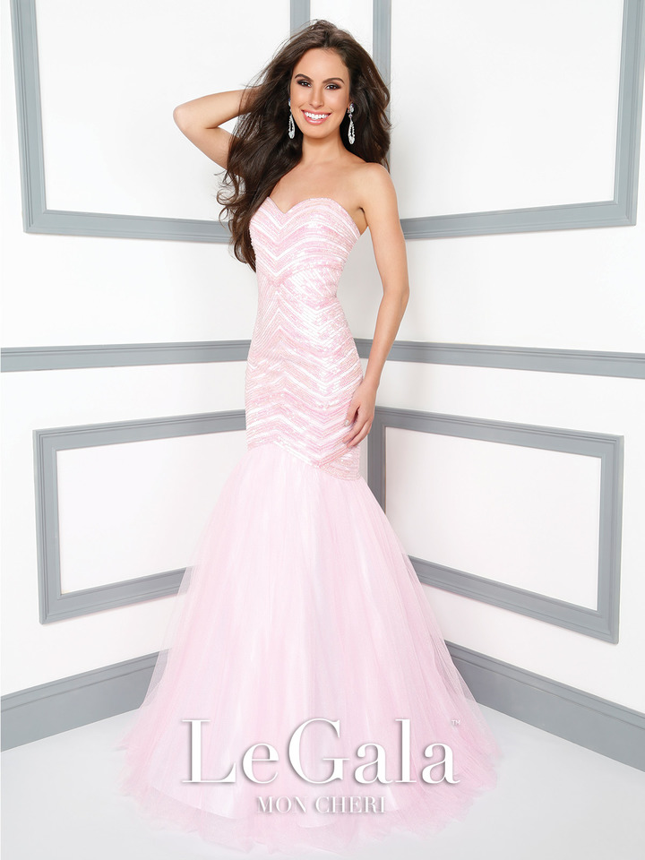 pink prom dress, trumpet style, strapless, beaded bodice, heart shape neck line