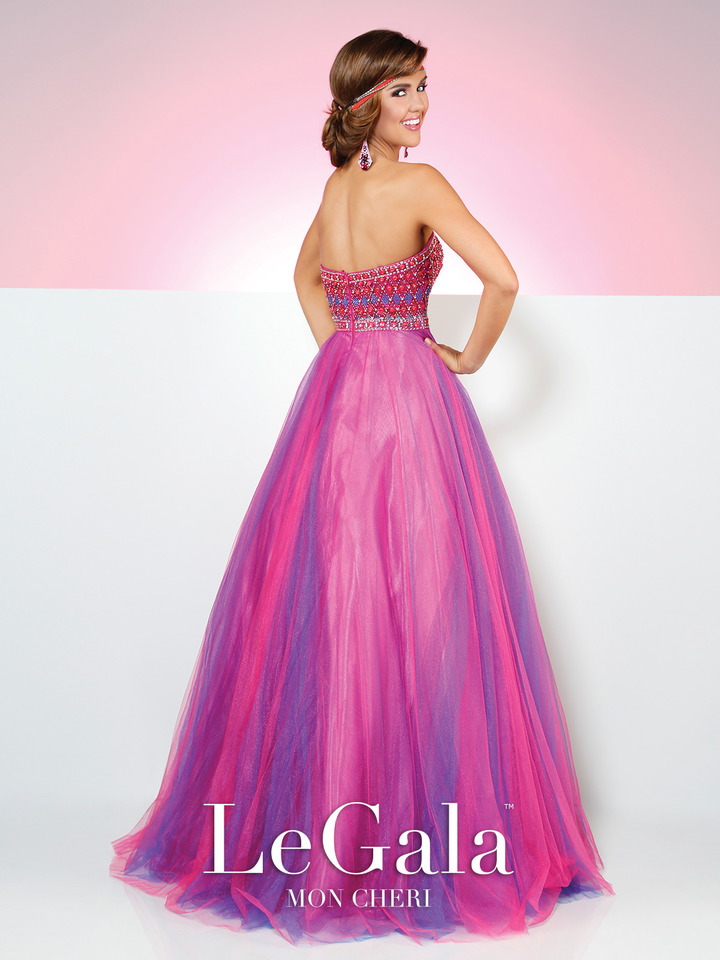hot pink prom ball gown, beaded bodice, strapless, sweetheart neckline
