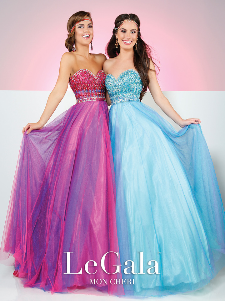 blue and hot pink prom ball gowns, strapless