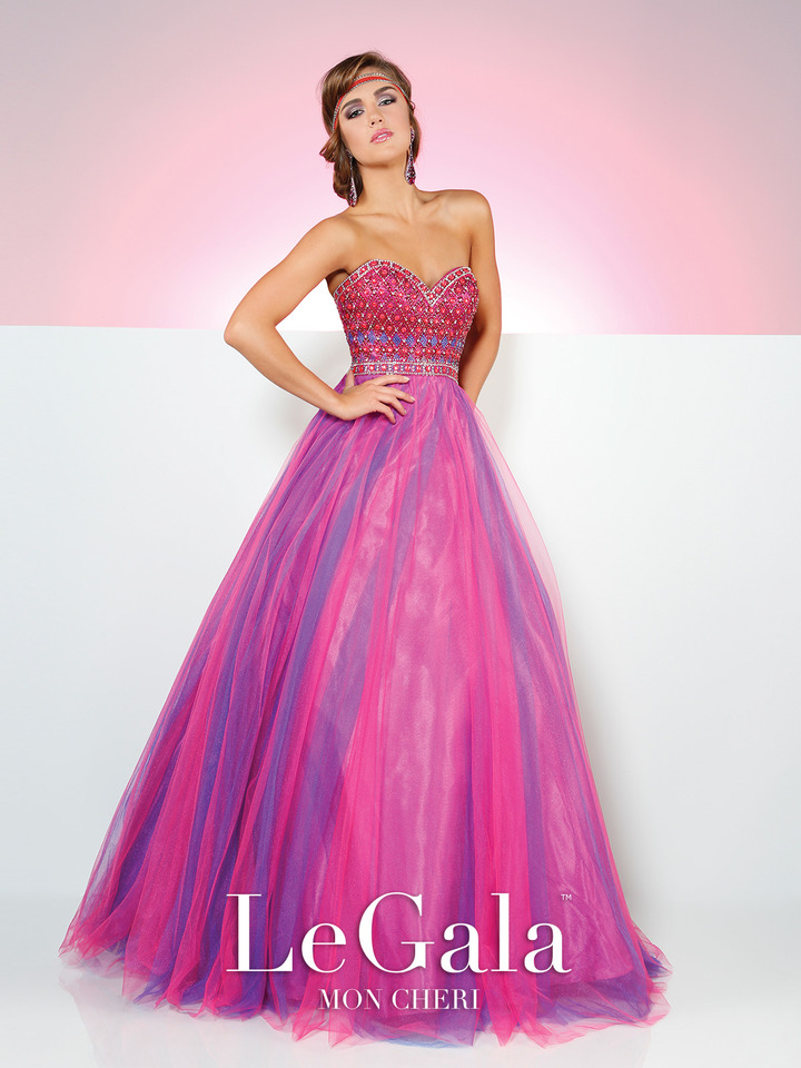 magenta prom ball gown, beaded bodice, strapless, sweetheart neckline