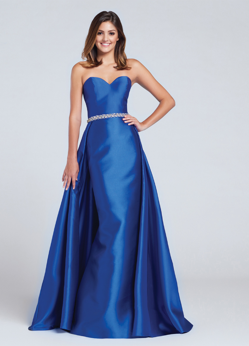 black/red/royal blue; strapless, sweet-heart, mikado,sheath, A-line over-skirt
