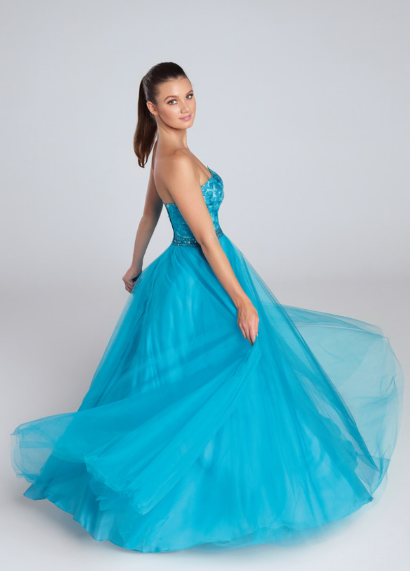 teal/merlot; strapless tulle ballgown with sweetheart neckline and hand beaded waistband