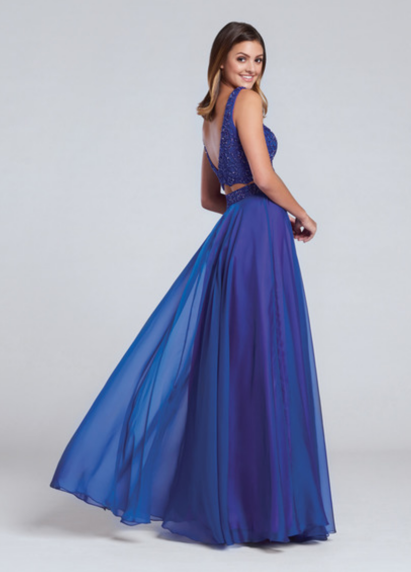 royal blue; two-piece chiffon sleeveless gown with hand beaded crop top and sweetheart neckline; full a-line skirt