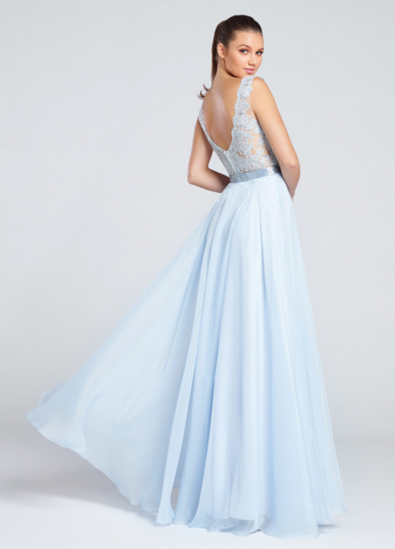 ice blue; sleeveless chiffon full a-line gown; front and back v-neck and an embroidered bodice
