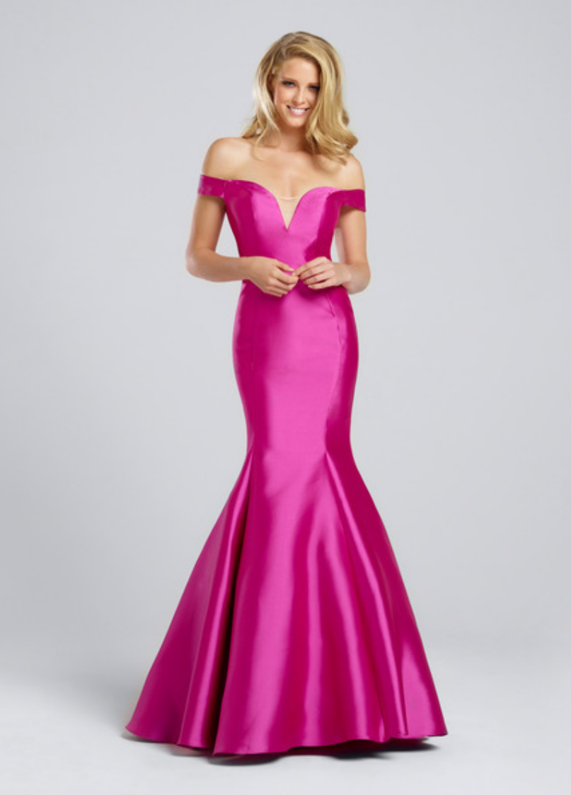 hot pink/turquoise/red/black; off the shoulder mikado mermaid gown with a plunging sweetheart and an illusion modesty panel; keyhole back; sweep train
