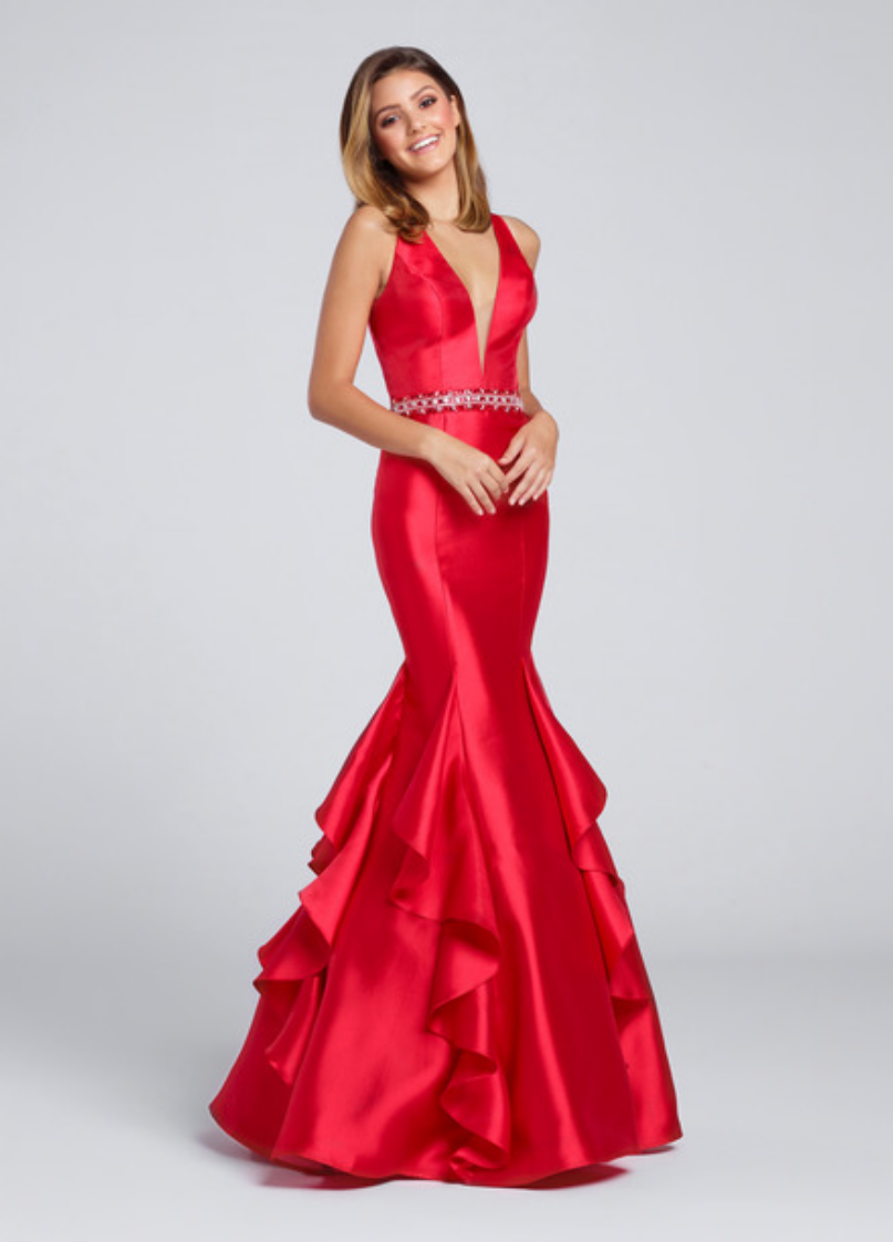 red/navy blue; sleeveless mikado mermaid gown with plunging v-neck and an illusion modesty panel; racer back; hand beaded waist band and princess seam skirt with cascading ruffles