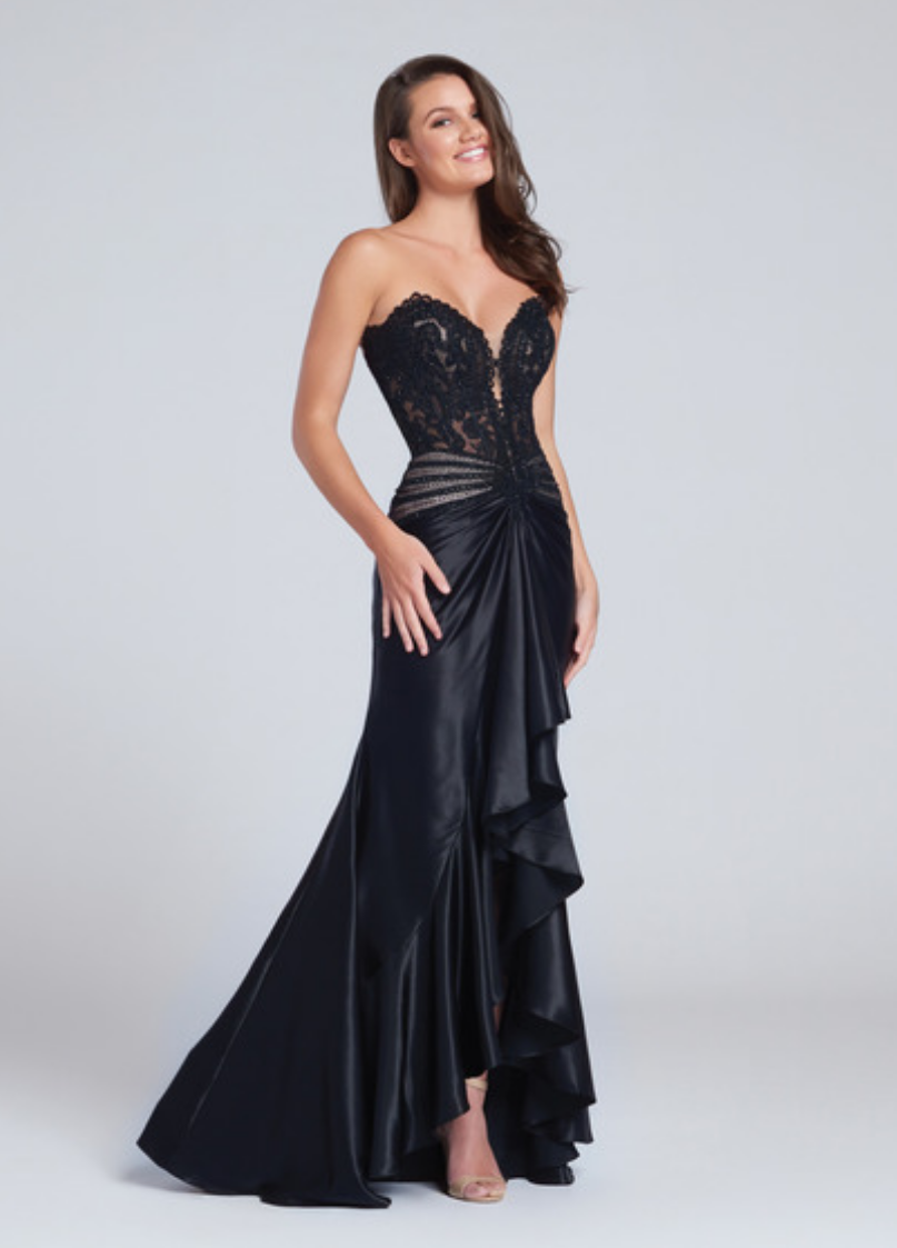 black/nude;red/nude;royal blue/nude; strapless charmeuse sheath gown with a plunging sweetheart neckline;; lace and heat-set stone beaded bodice; drop waist; cascading ruffles and centre front slit