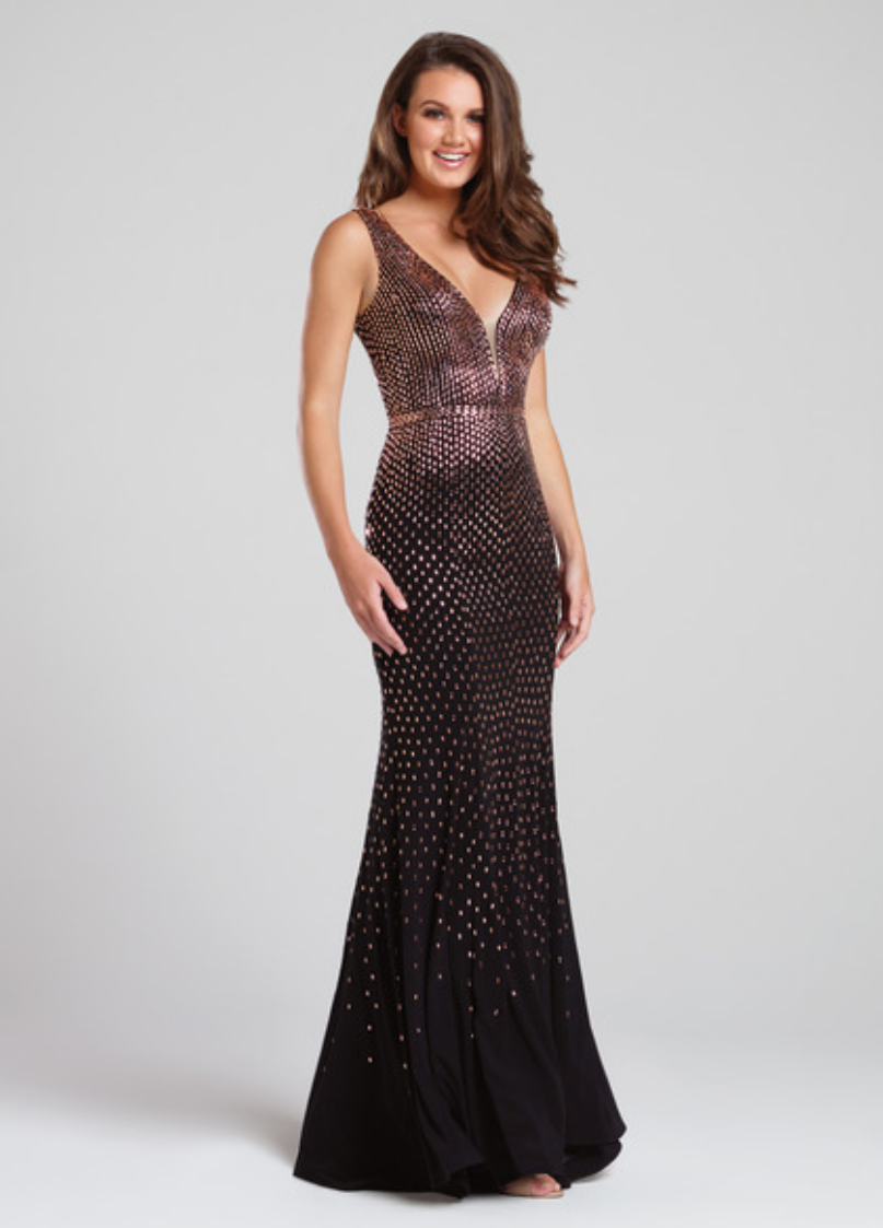 black/bronze; sleeveless jersey gown; heat-set stones with a plunging v-neck and an illusion modesty panel; thin waistband; v-back; slight train