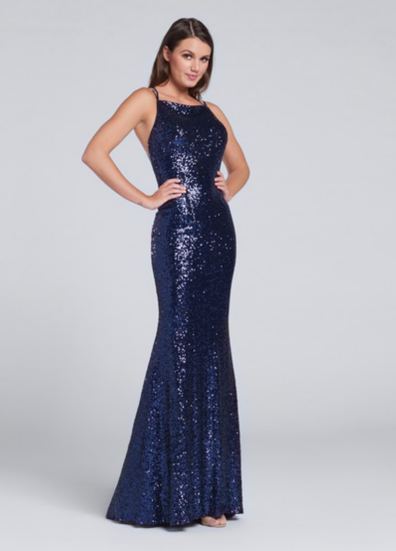 navy blue/copper; sleeveless sequin fit and flare gown; bateau neckline; thin double straps and crisscross back straps; sweep train