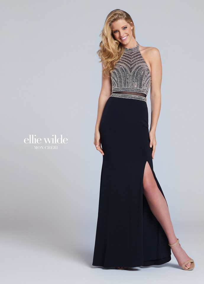 black/silver; jersey fit and flare; halter bodice and illusion midriff; side slit