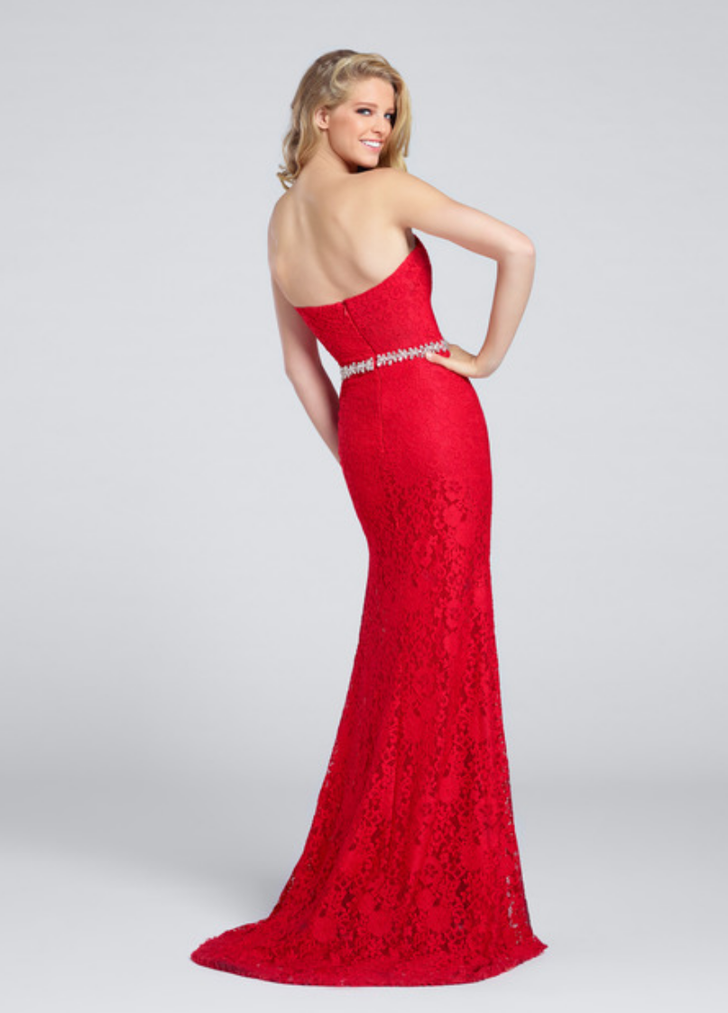 red/royal blue; strapless lace fit and flare gown with a sweetheart neckline; crystal detail at natural waist and slight train