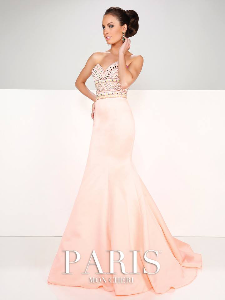 trumpet style, light pink, sweet heart neckline, beaded bodice, prom dresses