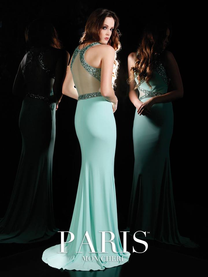 green-blue, tight, mermaid, straps, beads, prom dress, back