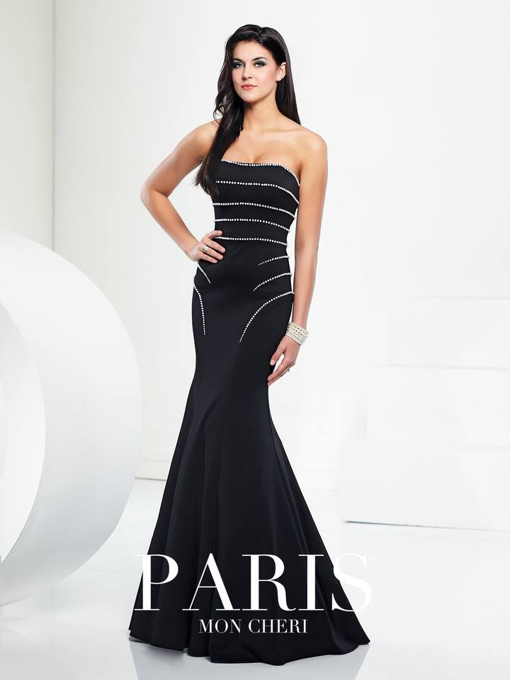 elegant black, mermaid style, strapless, with with  beads prom dress, front