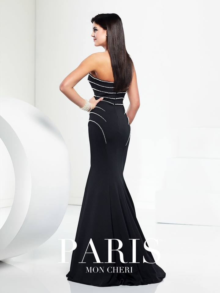 elegant black, mermaid style, strapless, with with  beads prom dress, back
